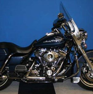 Blue and Black Harley Davidson Motorcycle